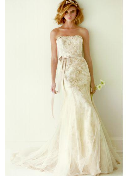 Melissa Sweet Ivory (Melissa Sweet Lace Wedding Dress with Ruffle Train)