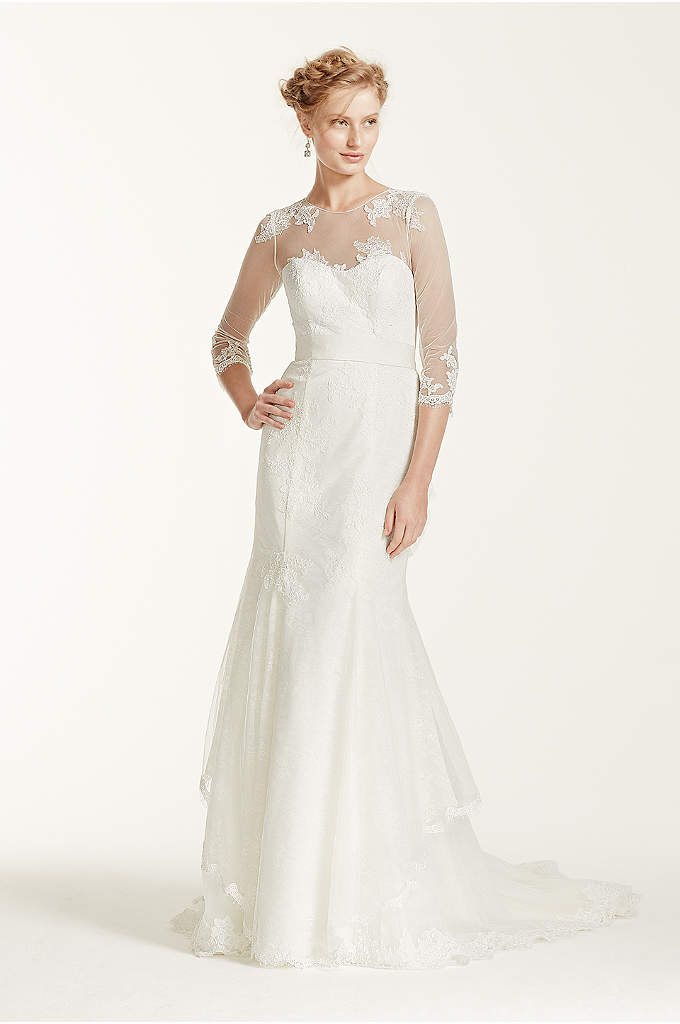 Melissa Sweet Wedding Dress with Illusion Sleeves - Elegant and sophisticated, you will look fierce in