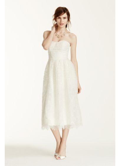 Melissa Sweet Short Lace Wedding Dress - Classic style meets vintage flare in this gorgeous