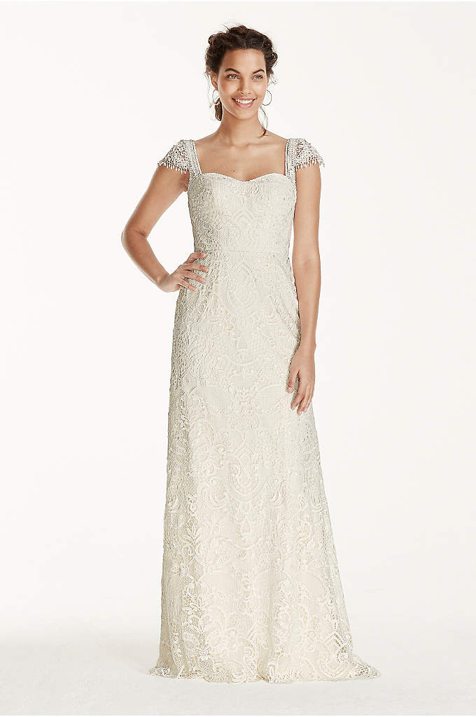 Melissa Sweet Beaded Cap Sleeve Lace Wedding Dress - This vintage, romantic sheath is ultra feminine and