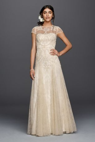 Melissa Sweet Cap Sleeve Illusion Wedding Dress | David\'s Bridal