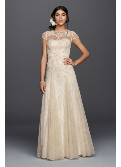 Melissa Sweet Cap Sleeve Illusion Wedding Dress - A trip to Morocco inspired the gilded motif