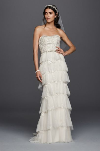 tiered wedding dress sweet wedding dress with tiered skirt davids bridal 7997