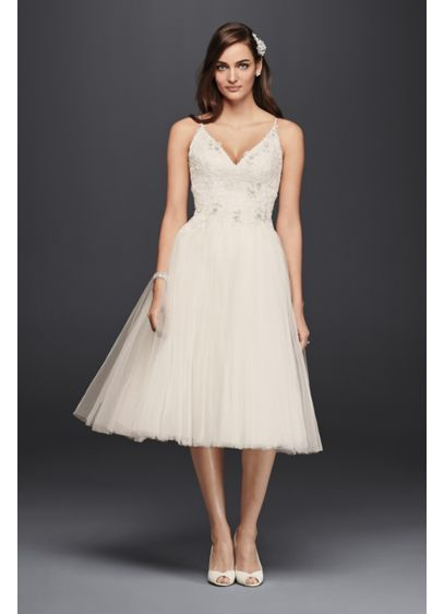 Melissa Sweet Short Tulle V Neck Wedding Dress | David's Bridal