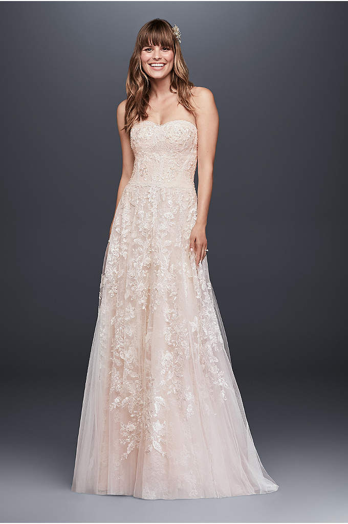 Melissa SweetLace A-Line Wedding Dress - Soft panels of floral and scalloped lace fall