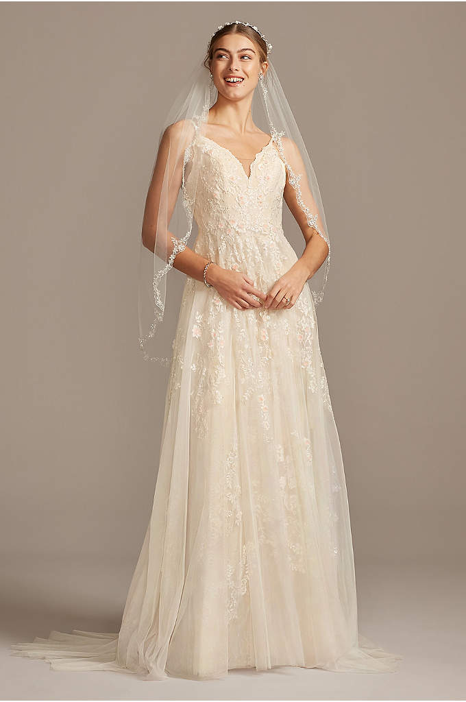 Scalloped A-Line Wedding Dress with Double Straps - Appliqued with pearl-centered blush flowers, this scalloped-bodice gown
