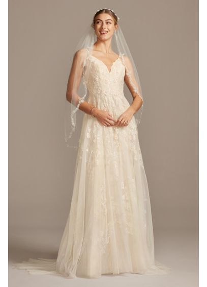 A Line Wedding Dress.Scalloped A Line Wedding Dress With Double Straps