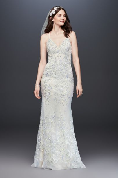 Embroidered And Beaded Lace Sheath Wedding Dress David S Bridal