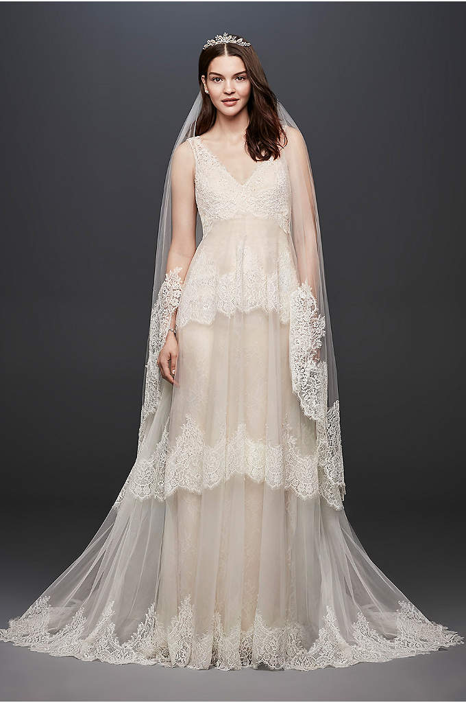 Banded Eyelash Lace Layered Wedding Dress - This two-piece Melissa Sweet wedding gown features a