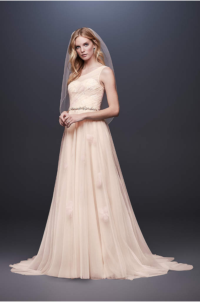 Pressed Flower Tulle A-Line Wedding Dress - Show off your romantic side in this one-shoulder