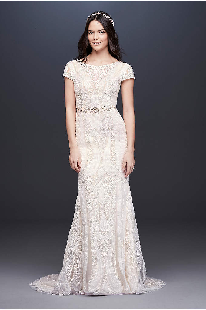 Laser-Cut Lace Illusion Cap Sleeve Wedding Dress