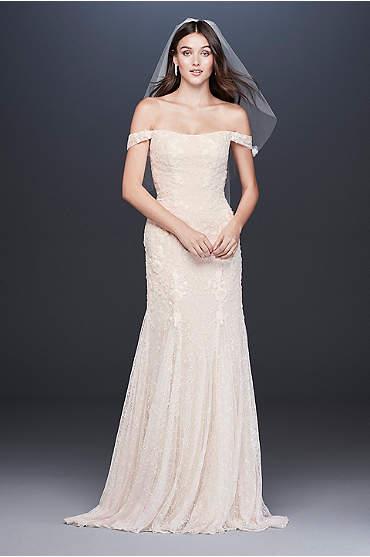 Swag Sleeve Layered Lace Trumpet Wedding Dress