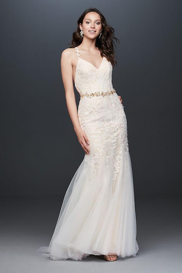 Allover Floral Beaded Sheath Wedding Dress
