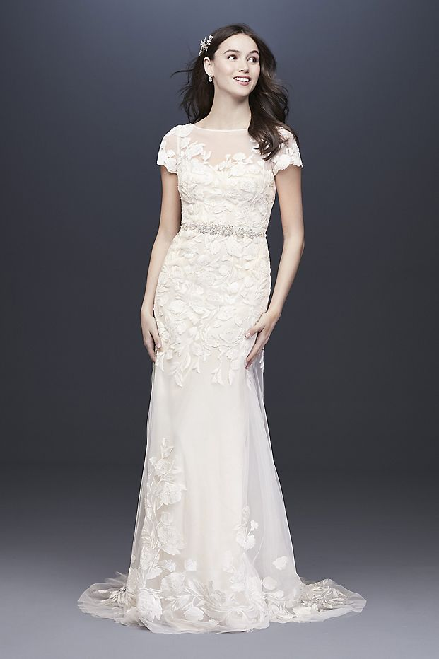 Embroidered Illusion Cap Sleeve Wedding Dress