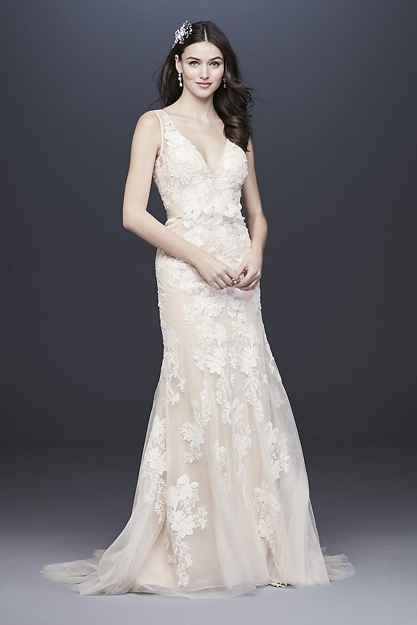 Plunging Lace Wedding Gown with Floral Applique