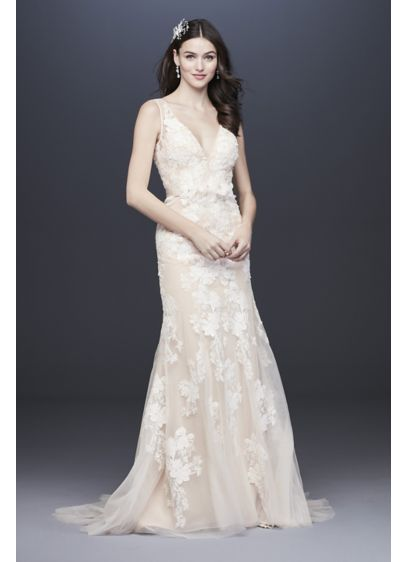 Plunging Lace Wedding Gown with Floral Applique - The height of elegance, this trumpet wedding gown