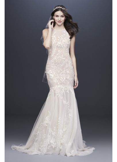 Blooming Applique Wedding Dress with Open Back - An illusion high neck and sweeping, sheer point