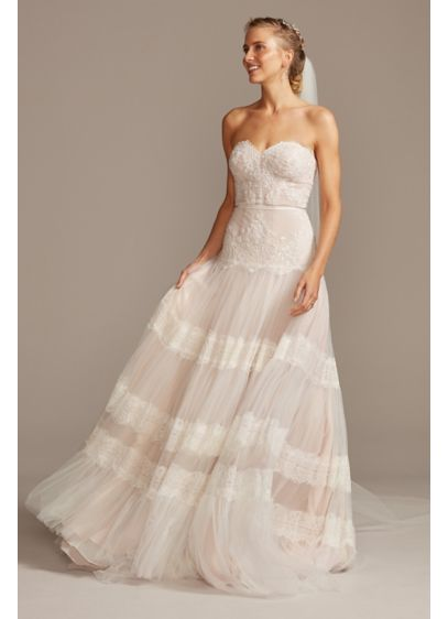 Banded Lace Point D'Esprit Tulle Wedding Dress - This irresistible wedding dress combines vintage-inspired details with