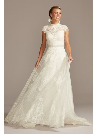 Embroidered Illusion Mock Neck Wedding Dress - Ornate lace and floral applique is layered atop