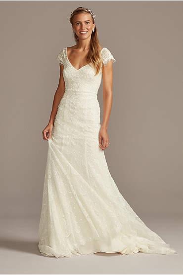 Hand Beaded Lace Cap Sleeve Wedding Dress