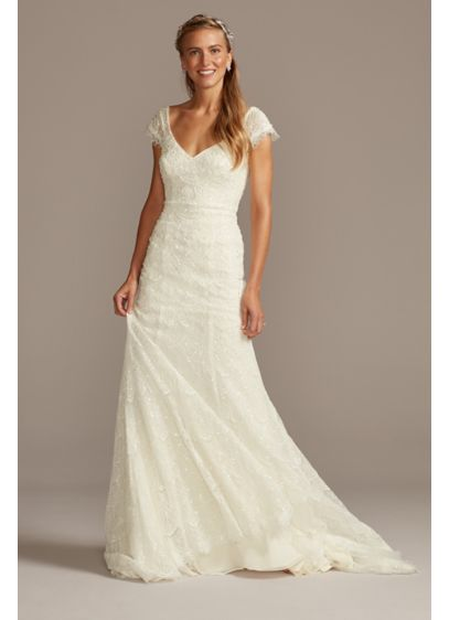 Hand Beaded Lace Cap Sleeve Wedding Dress - A fresh take on a timeless wedding day