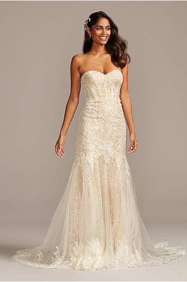 Embellished Lace Corset Bodice Wedding Dress