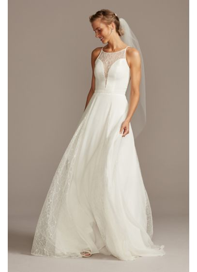 High Neck Illusion And Lace Godet Wedding David S Bridal