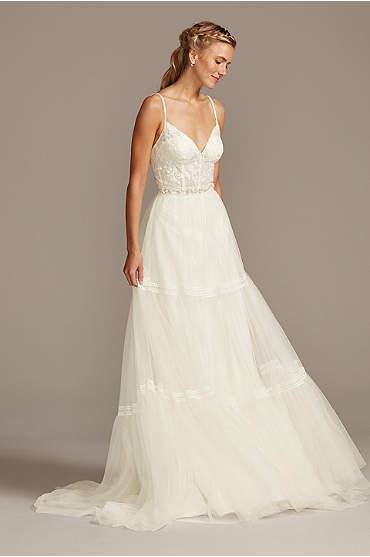 Corset Bodice Tiered Chiffon A-Line Wedding Dress
