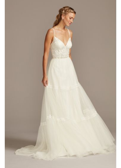 Corset Bodice Tiered Chiffon A-Line Wedding Dress - The boho-inspired bride will find it hard to