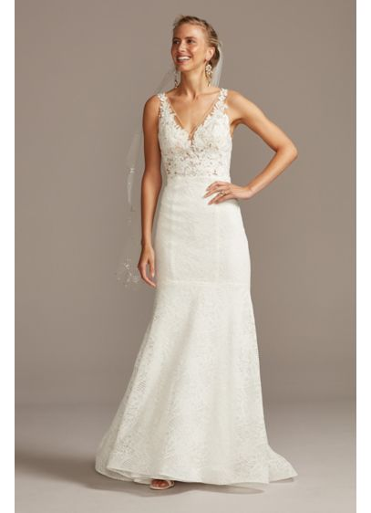 Floral Applique Illusion V-Back Wedding Dress - Dramatically embroidered floral appliques look like they're floating