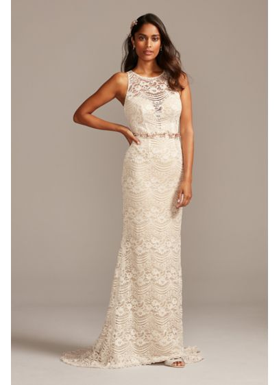 Plunge Illusion Chantilly Lace Wedding Dress - Chantilly lace forms a high illusion neckline on