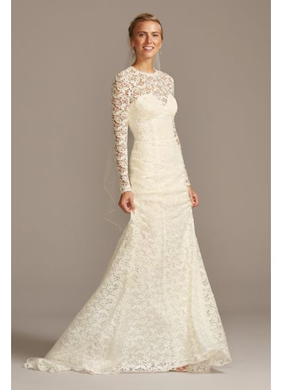 Long Sleeve Illusion Venice Lace Wedding Dress - Crafted of crocheted Venice lace, this romantic curve-hugging