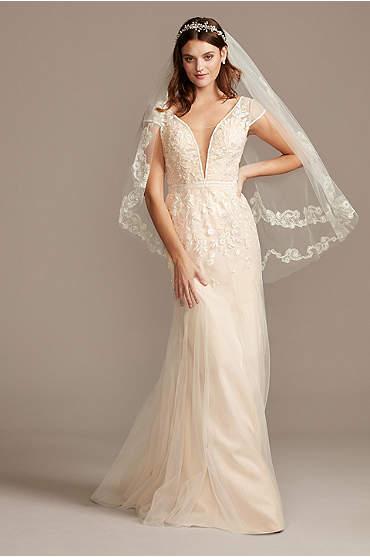 Floral Applique Tulle Cap Sleeve Wedding Dress