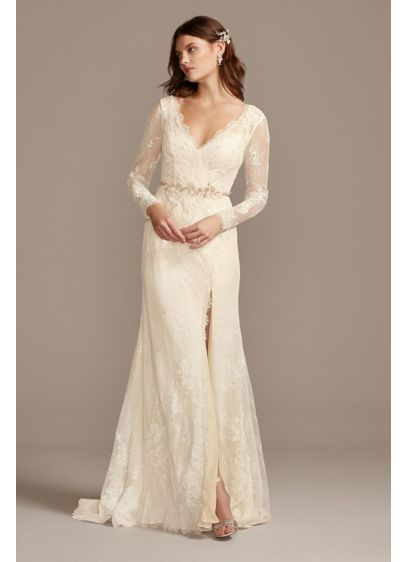 Illusion Long Sleeve Faux Surplice Wedding Dress - Romantic boho vibes meet modern simplicity in this