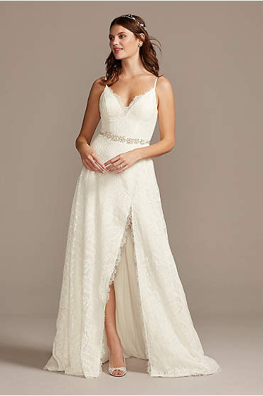 Leaf Pattern Lace Slit Skirt A-Line Wedding Dress