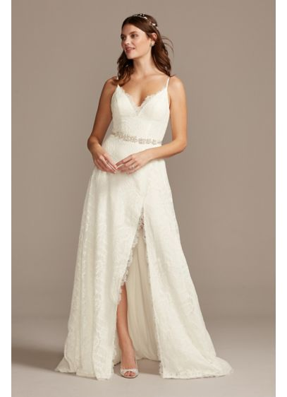 Leaf Pattern Lace Slit Skirt A-Line Wedding Dress - Scalloped eyelash lace trims the plunging-V neckline, dramatic