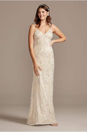 Spaghetti Strap Sequin Applique Lace Wedding Dress