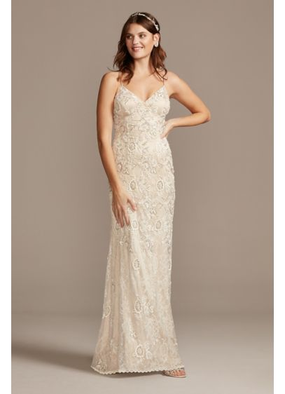 Spaghetti Strap Sequin Applique Lace Wedding Dress David S Bridal