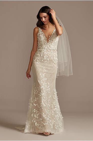 3D Leaves Applique Lace V-Neck Wedding Dress