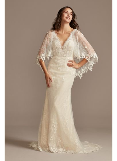 Lace Wedding Dress with Crochet Trim Capelet - Adorned with crochet trim and floral lace appliques,