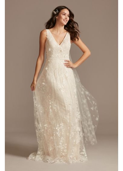 Floral Embroidered Wedding Dress with Veiled Train - Beautifully embroidered tulle layered over micro-pleated lace adds