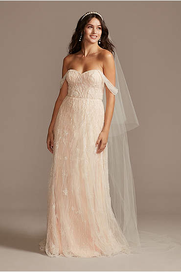 Floral Beaded Wedding Dress with Removable Sleeves