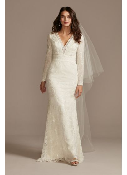 Sequin Embellished Wedding Dress with Scallop Hem - Tonal sequins create a modern medallion pattern atop