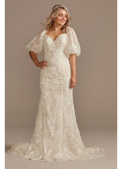 Puff Sleeve Floral Wedding Dress with Low Back - Unique, boho-inspired details, like statement balloon sleeves and