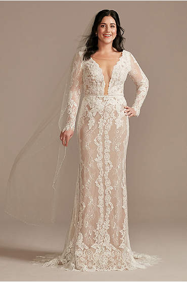 Illusion Plunge Long Sleeve Lace Wedding Dress
