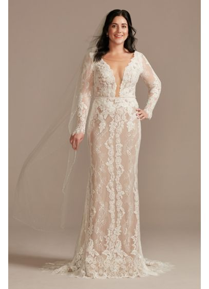 Illusion Plunge Long Sleeve Lace Wedding Dress - Soft floral lace layered with hand-sewn lace appliques