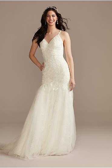 Lace Beaded Tulle Spaghetti Strap Wedding Dress