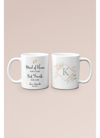 Personalized Friends for Life Maid of Honor Mug - With your maid of honor's monogram and a