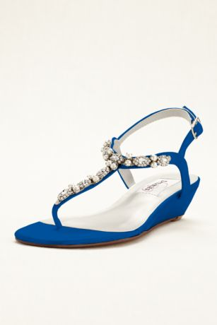 Dyeables Black;Blue;Grey;Ivory;Pink;Purple;Red;White Sandals (Myra Dyeable Low Wedge Thong Sandal)