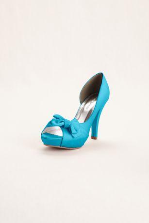 David's Bridal Black;Blue;Brown;Green;Grey;Ivory;Orange;Pink;Purple;Red;White;Yellow Peep Toe Shoes (Satin Peep Toe Platform High Heel with Bow Detail)